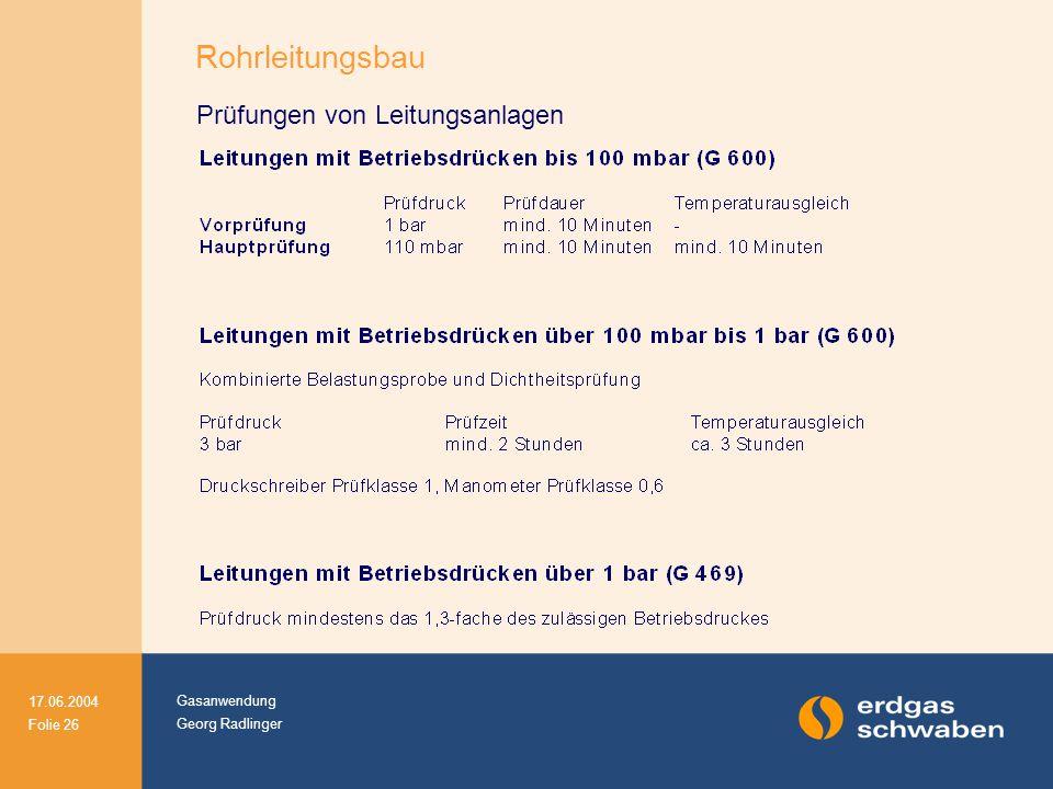 Gasanwendung Georg Radlinger 17.06.2004 Folie 26 Prüfungen von Leitungsanlagen Rohrleitungsbau