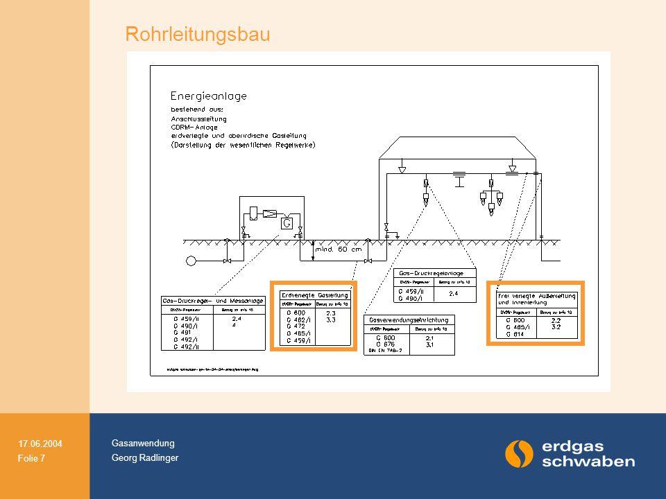 Gasanwendung Georg Radlinger 17.06.2004 Folie 8 Rohrleitungsbau Qualifikation