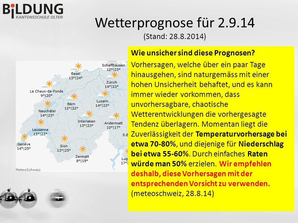 Wetterprognose für 2.9.14 (Stand: 28.8.2014) Wie unsicher sind diese Prognosen.