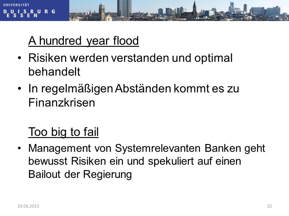 A hundred year flood Risiken werden verstanden und optimal behandelt In regelmäßigen Abständen kommt es zu Finanzkrisen Too big to fail Management von