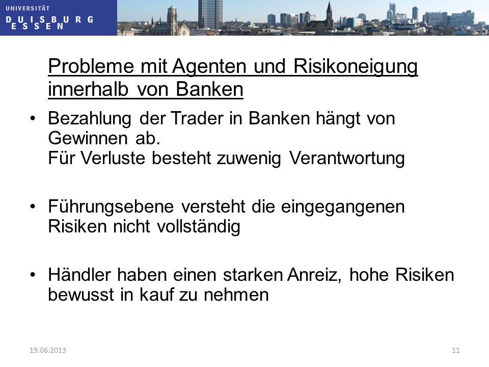 Probleme mit Agenten und Risikoneigung innerhalb von Banken Bezahlung der Trader in Banken hängt von Gewinnen ab. Für Verluste besteht zuwenig Verantw