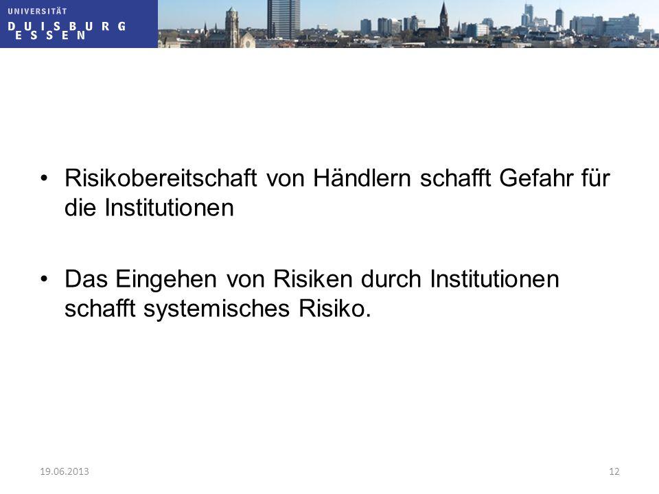 Risikobereitschaft von Händlern schafft Gefahr für die Institutionen Das Eingehen von Risiken durch Institutionen schafft systemisches Risiko. 19.06.2