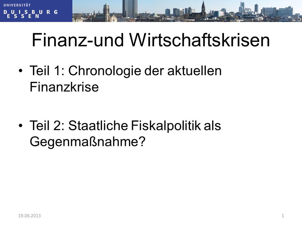 """§ 1 Stabilitäts- und Wachstumsgesetz """"Bund und Länder haben bei ihren finanzpolitischen Maßnahmen die Erfordernisse des gesamtwirtschaftlichen Gleichgewichts zu beachten Zumindest: keine Destabilisierung durch Fiskalpolitik (""""prozyklische Politik ) Ideal: Fiskalpolitik kompensiert die Schwankungen der anderen Nachfragekomponenten (""""antizyklische Politik ) 19.06.201322"""