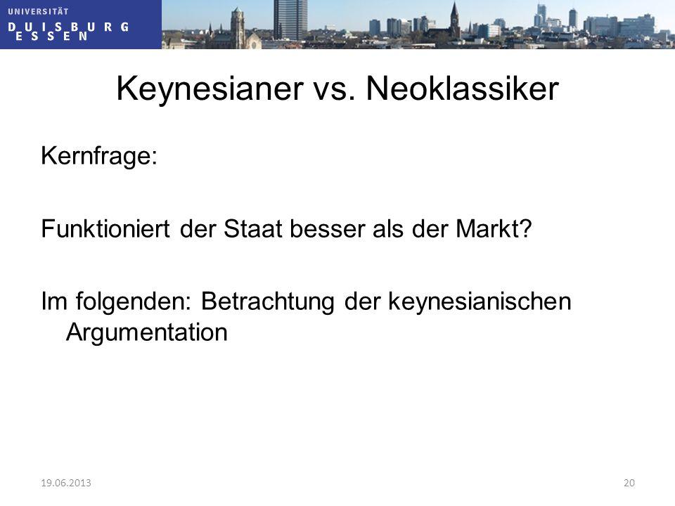 Keynesianer vs. Neoklassiker Kernfrage: Funktioniert der Staat besser als der Markt? Im folgenden: Betrachtung der keynesianischen Argumentation 19.06