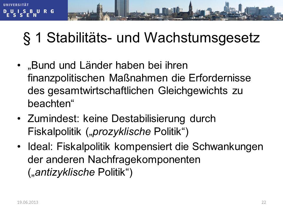 """§ 1 Stabilitäts- und Wachstumsgesetz """"Bund und Länder haben bei ihren finanzpolitischen Maßnahmen die Erfordernisse des gesamtwirtschaftlichen Gleichg"""