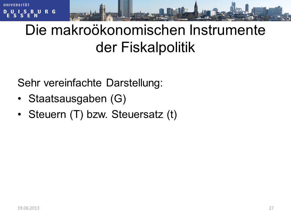 Die makroökonomischen Instrumente der Fiskalpolitik Sehr vereinfachte Darstellung: Staatsausgaben (G) Steuern (T) bzw. Steuersatz (t) 19.06.201327