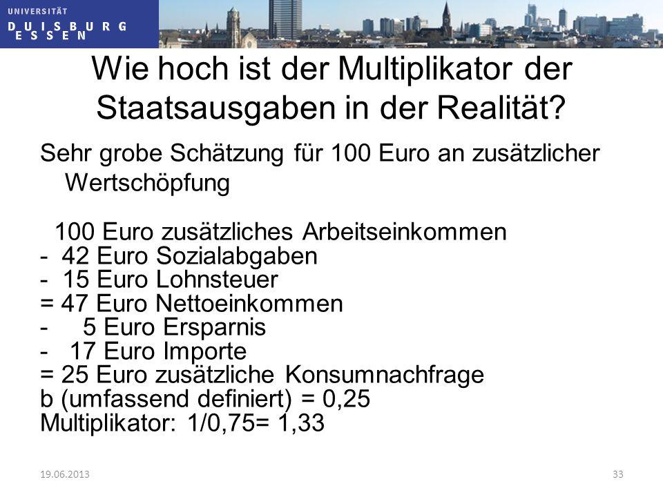 Wie hoch ist der Multiplikator der Staatsausgaben in der Realität? Sehr grobe Schätzung für 100 Euro an zusätzlicher Wertschöpfung 100 Euro zusätzlich