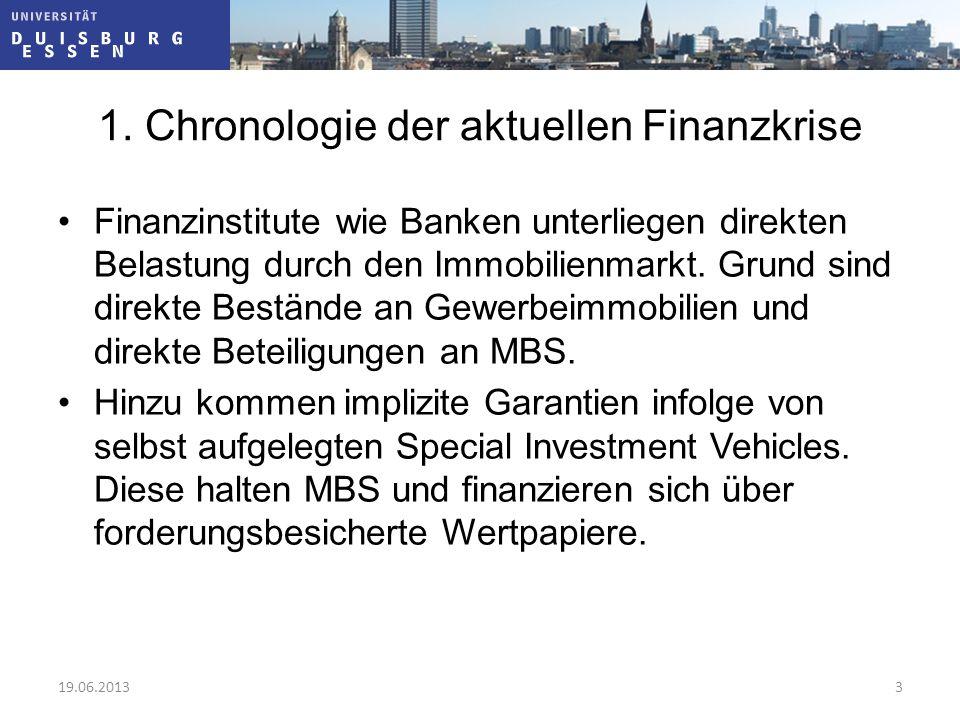 1. Chronologie der aktuellen Finanzkrise Finanzinstitute wie Banken unterliegen direkten Belastung durch den Immobilienmarkt. Grund sind direkte Bestä