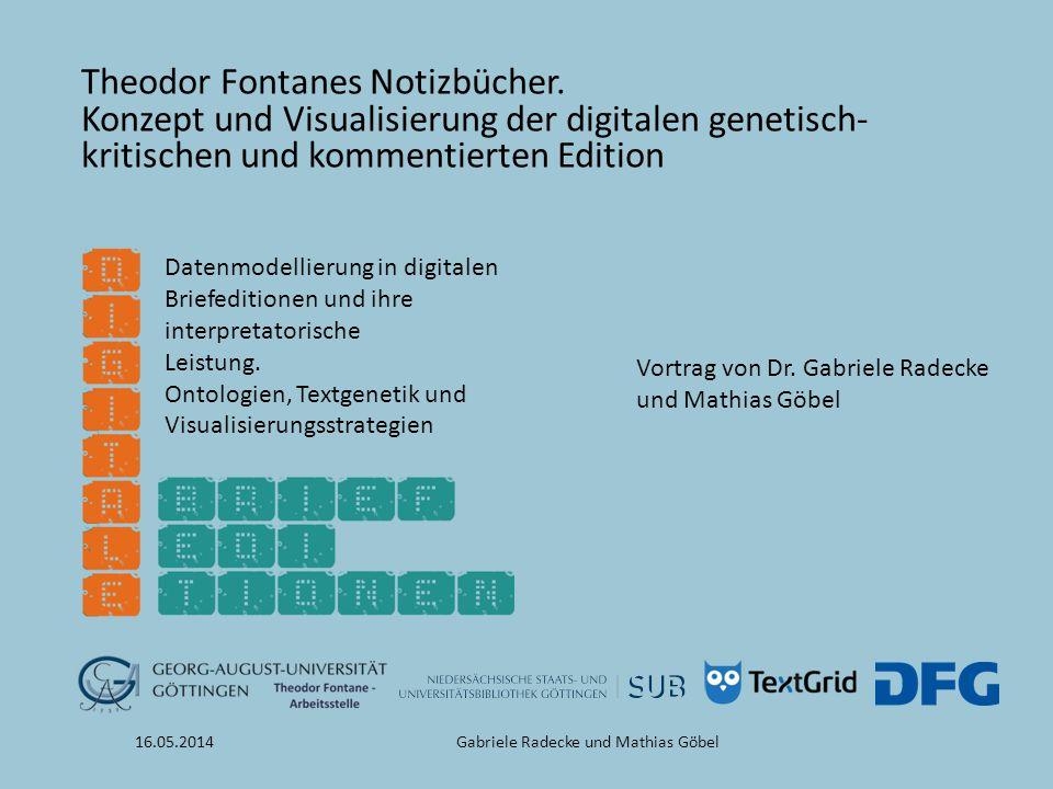 16.05.2014Gabriele Radecke und Mathias Göbel Theodor Fontanes Notizbücher. Konzept und Visualisierung der digitalen genetisch- kritischen und kommenti