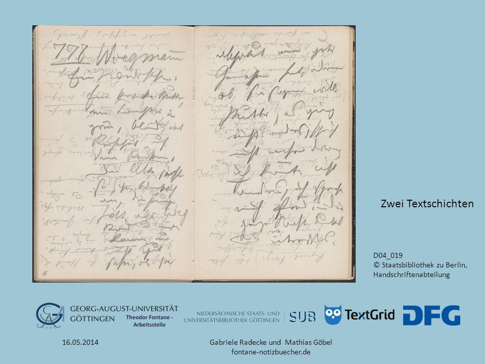 16.05.2014 D04_019 © Staatsbibliothek zu Berlin, Handschriftenabteilung Zwei Textschichten Gabriele Radecke und Mathias Göbel fontane-notizbuecher.de