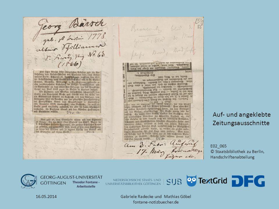 16.05.2014 E02_065 © Staatsbibliothek zu Berlin, Handschriftenabteilung Auf- und angeklebte Zeitungsausschnitte Gabriele Radecke und Mathias Göbel fon