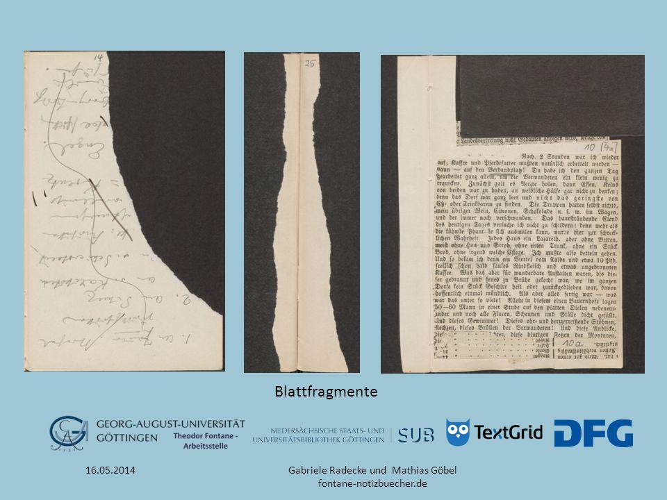 16.05.2014 Blattfragmente Gabriele Radecke und Mathias Göbel fontane-notizbuecher.de