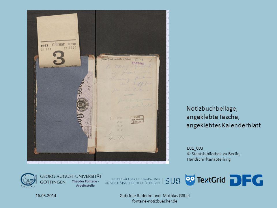 16.05.2014 E01_003 © Staatsbibliothek zu Berlin, Handschriftenabteilung Notizbuchbeilage, angeklebte Tasche, angeklebtes Kalenderblatt Gabriele Radeck