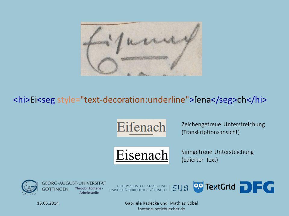 Ei ſena ch 16.05.2014 Zeichengetreue Unterstreichung (Transkriptionsansicht) Sinngetreue Untersteichung (Edierter Text) Gabriele Radecke und Mathias G