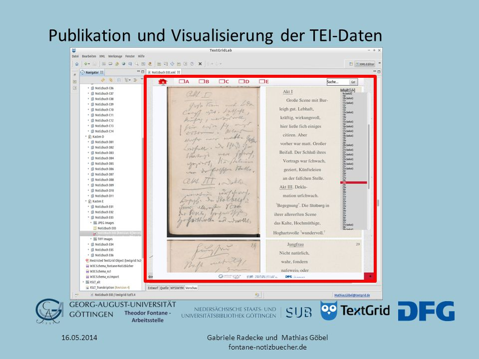 Publikation und Visualisierung der TEI-Daten 16.05.2014Gabriele Radecke und Mathias Göbel fontane-notizbuecher.de