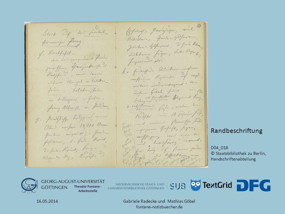 16.05.2014 Webportal fontane-notizbücher.de Gabriele Radecke und Mathias Göbel fontane-notizbuecher.de