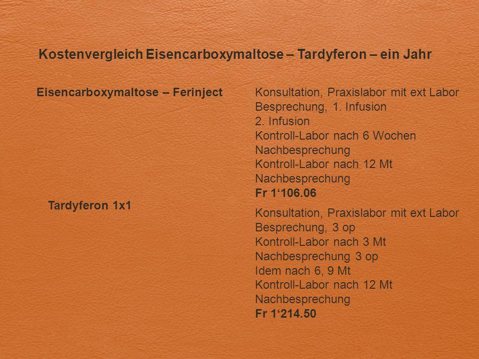Kostenvergleich Eisencarboxymaltose – Tardyferon – ein Jahr Eisencarboxymaltose – FerinjectKonsultation, Praxislabor mit ext Labor Besprechung, 1. Inf