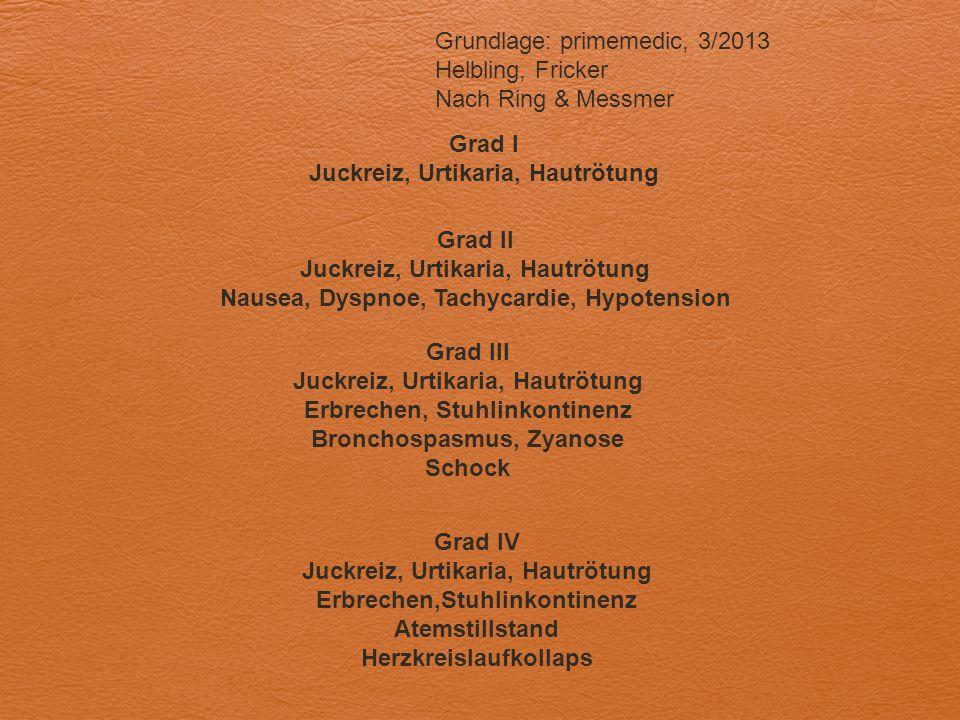 Grad II Juckreiz, Urtikaria, Hautrötung Nausea, Dyspnoe, Tachycardie, Hypotension Grundlage: primemedic, 3/2013 Helbling, Fricker Nach Ring & Messmer