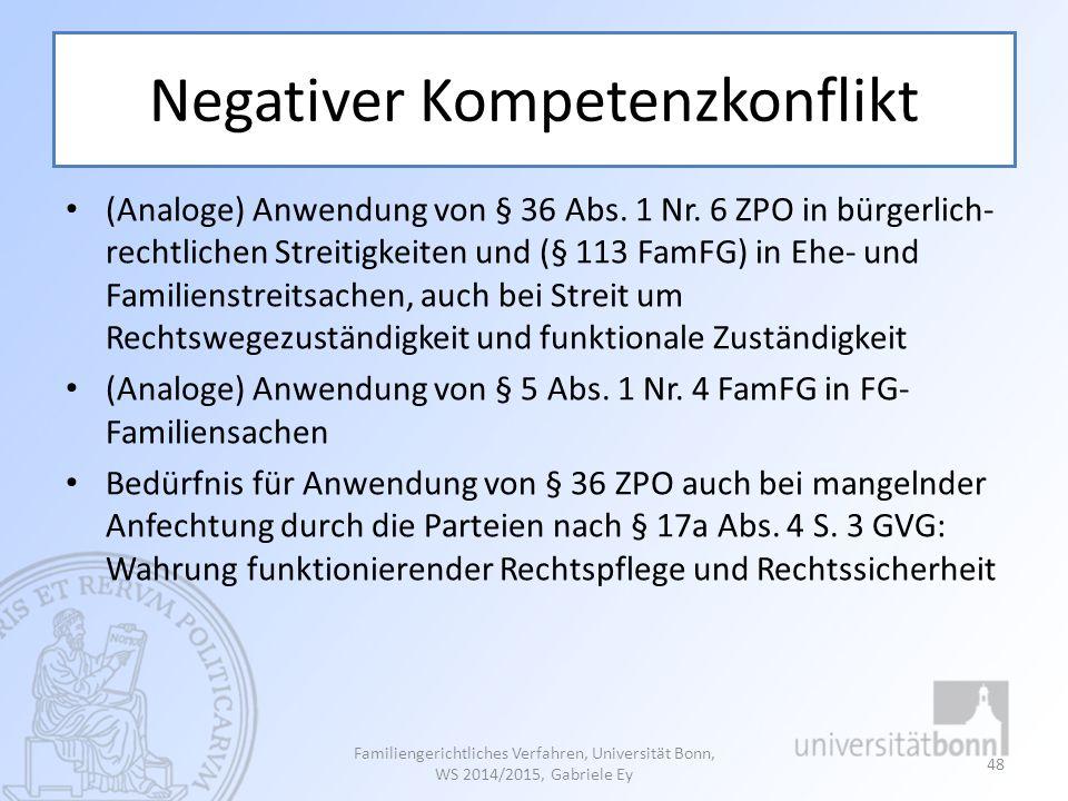 Negativer Kompetenzkonflikt (Analoge) Anwendung von § 36 Abs. 1 Nr. 6 ZPO in bürgerlich- rechtlichen Streitigkeiten und (§ 113 FamFG) in Ehe- und Fami