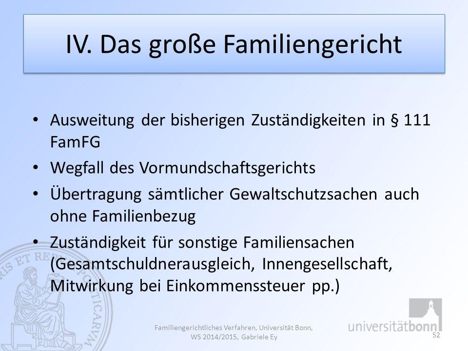 IV. Das große Familiengericht Ausweitung der bisherigen Zuständigkeiten in § 111 FamFG Wegfall des Vormundschaftsgerichts Übertragung sämtlicher Gewal