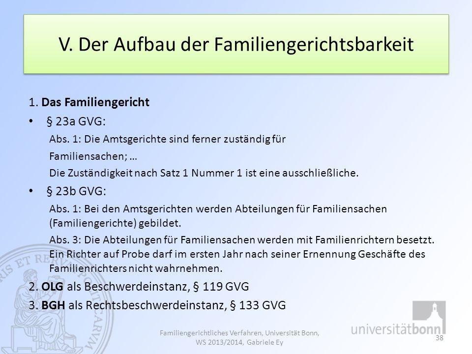 V. Der Aufbau der Familiengerichtsbarkeit 1. Das Familiengericht § 23a GVG: Abs. 1: Die Amtsgerichte sind ferner zuständig für Familiensachen; … Die Z