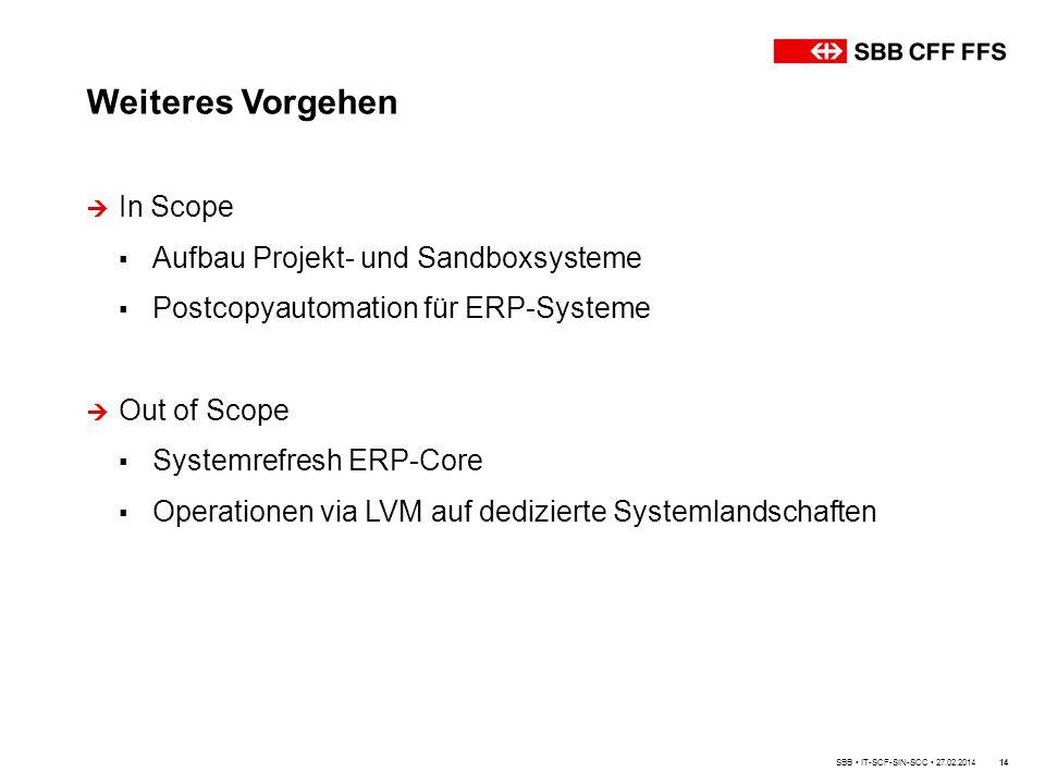 Weiteres Vorgehen 14  In Scope ▪ Aufbau Projekt- und Sandboxsysteme ▪ Postcopyautomation für ERP-Systeme  Out of Scope ▪ Systemrefresh ERP-Core ▪ Operationen via LVM auf dedizierte Systemlandschaften SBB IT-SCF-SIN-SCC 27.02.2014