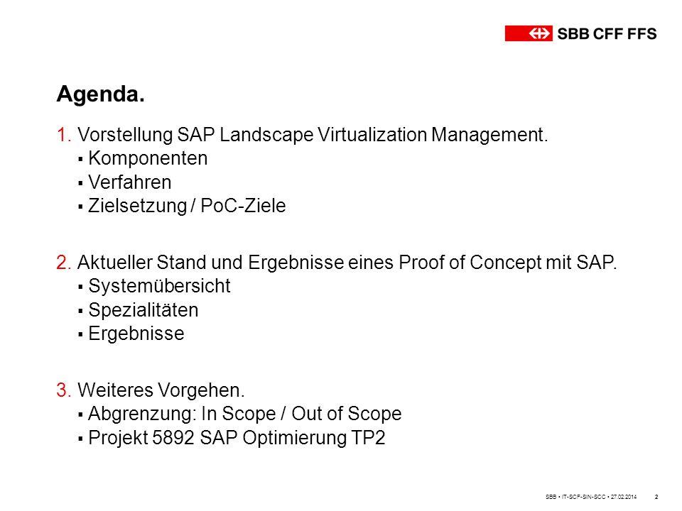 Agenda. SBB IT-SCF-SIN-SCC 27.02.20142 1.Vorstellung SAP Landscape Virtualization Management. ▪ Komponenten ▪ Verfahren ▪ Zielsetzung / PoC-Ziele 2.Ak