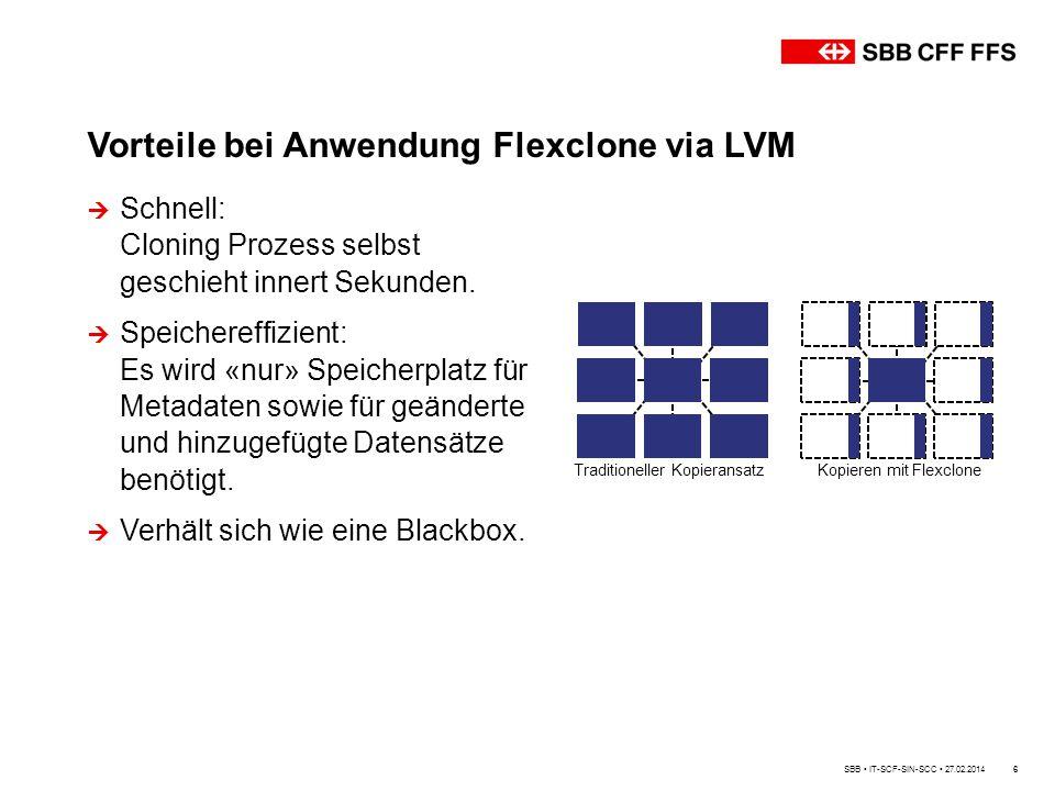 Vorteile bei Anwendung Flexclone via LVM 6  Schnell: Cloning Prozess selbst geschieht innert Sekunden.  Speichereffizient: Es wird «nur» Speicherpla