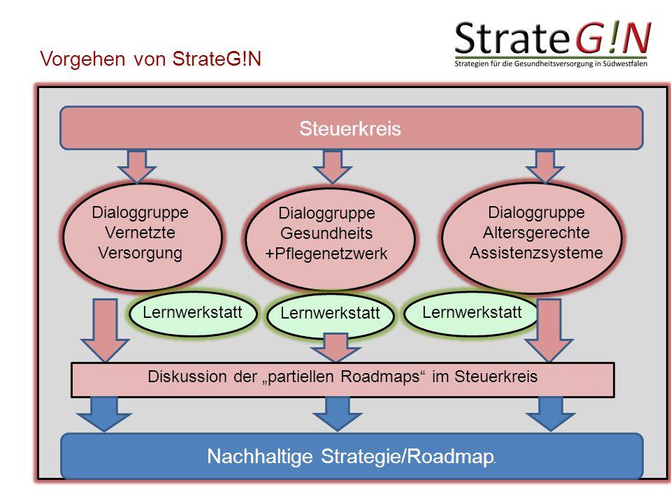"""Vorgehen von StrateG!N Dialoggruppe Vernetzte Versorgung Dialoggruppe Altersgerechte Assistenzsysteme Dialoggruppe Gesundheits +Pflegenetzwerk Lernwerkstatt Diskussion der """"partiellen Roadmaps im Steuerkreis Nachhaltige Strategie/Roadmap n Steuerkreis"""