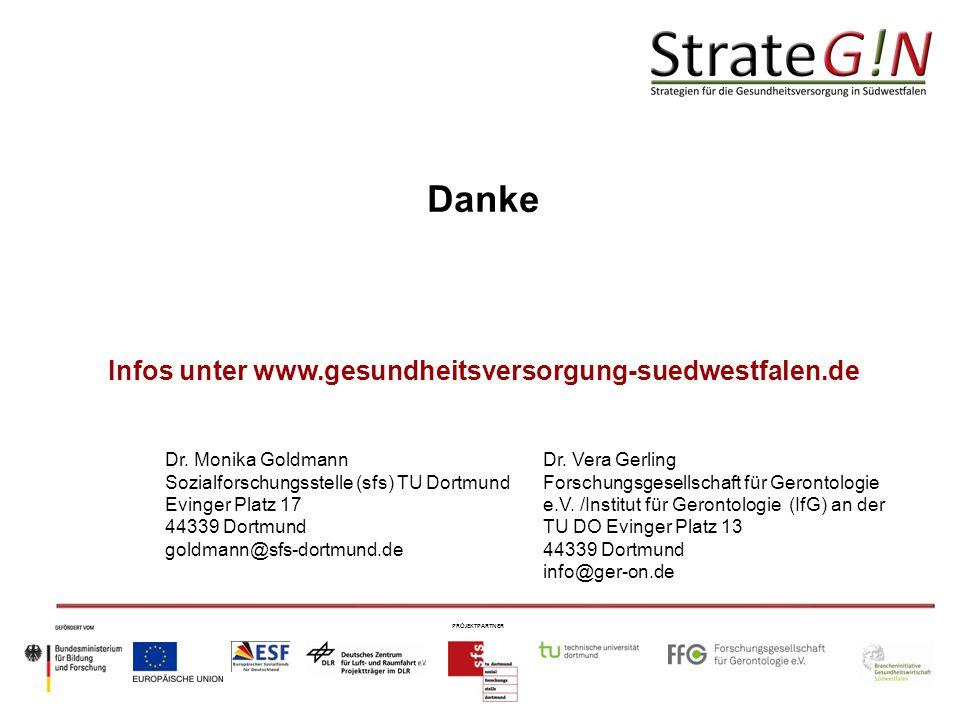 PROJEKTPARTNER Danke Infos unter www.gesundheitsversorgung-suedwestfalen.de Dr.