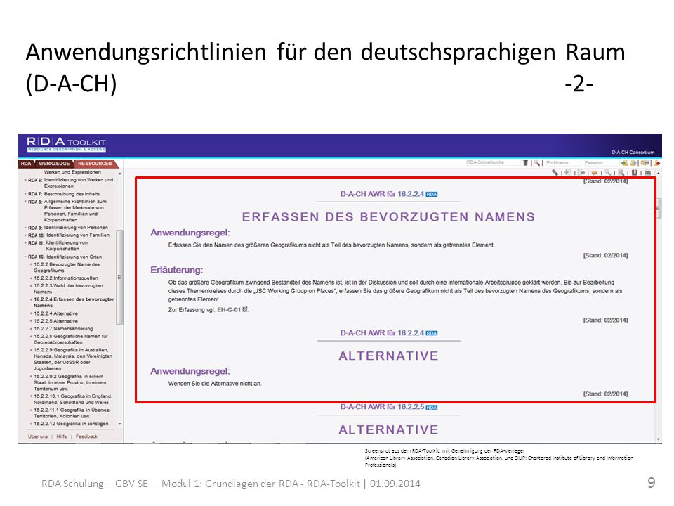 Screenshot aus dem RDA-Toolkit mit Genehmigung der RDA-Verleger (American Library Association, Canadian Library Association, und CILIP: Chartered Institute of Library and Information Professionals) RDA Schulung – GBV SE – Modul 1: Grundlagen der RDA - RDA-Toolkit | Anwendungsrichtlinien für den deutschsprachigen Raum (D-A-CH)-2-