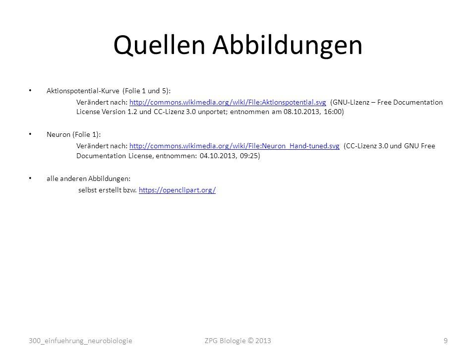 Quellen Abbildungen Aktionspotential-Kurve (Folie 1 und 5): Verändert nach: http://commons.wikimedia.org/wiki/File:Aktionspotential.svg (GNU-Lizenz – Free Documentation License Version 1.2 und CC-Lizenz 3.0 unportet; entnommen am 08.10.2013, 16:00)http://commons.wikimedia.org/wiki/File:Aktionspotential.svg Neuron (Folie 1): Verändert nach: http://commons.wikimedia.org/wiki/File:Neuron_Hand-tuned.svg (CC-Lizenz 3.0 und GNU Free Documentation License, entnommen: 04.10.2013, 09:25)http://commons.wikimedia.org/wiki/File:Neuron_Hand-tuned.svg alle anderen Abbildungen: selbst erstellt bzw.