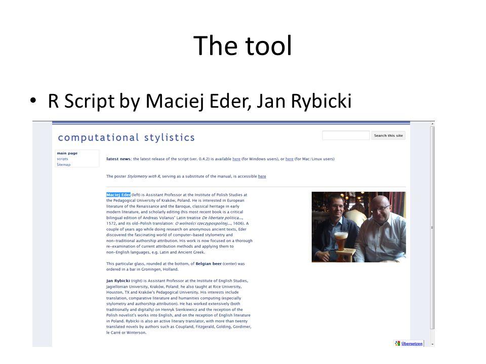 The tool R Script by Maciej Eder, Jan Rybicki