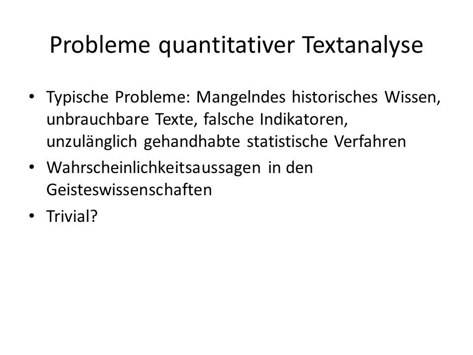 Probleme quantitativer Textanalyse Typische Probleme: Mangelndes historisches Wissen, unbrauchbare Texte, falsche Indikatoren, unzulänglich gehandhabte statistische Verfahren Wahrscheinlichkeitsaussagen in den Geisteswissenschaften Trivial