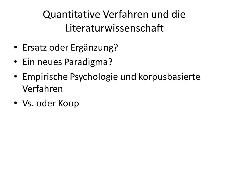 Quantitative Verfahren und die Literaturwissenschaft Ersatz oder Ergänzung.