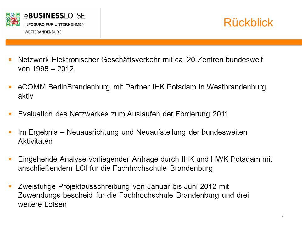 2 Rückblick  Netzwerk Elektronischer Geschäftsverkehr mit ca. 20 Zentren bundesweit von 1998 – 2012  eCOMM BerlinBrandenburg mit Partner IHK Potsdam