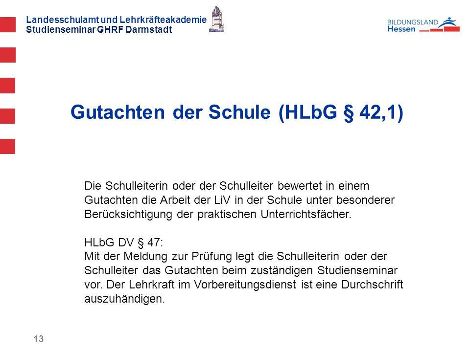 Landesschulamt und Lehrkräfteakademie Studienseminar GHRF Darmstadt Gutachten der Schule (HLbG § 42,1) 13 Die Schulleiterin oder der Schulleiter bewertet in einem Gutachten die Arbeit der LiV in der Schule unter besonderer Berücksichtigung der praktischen Unterrichtsfächer.