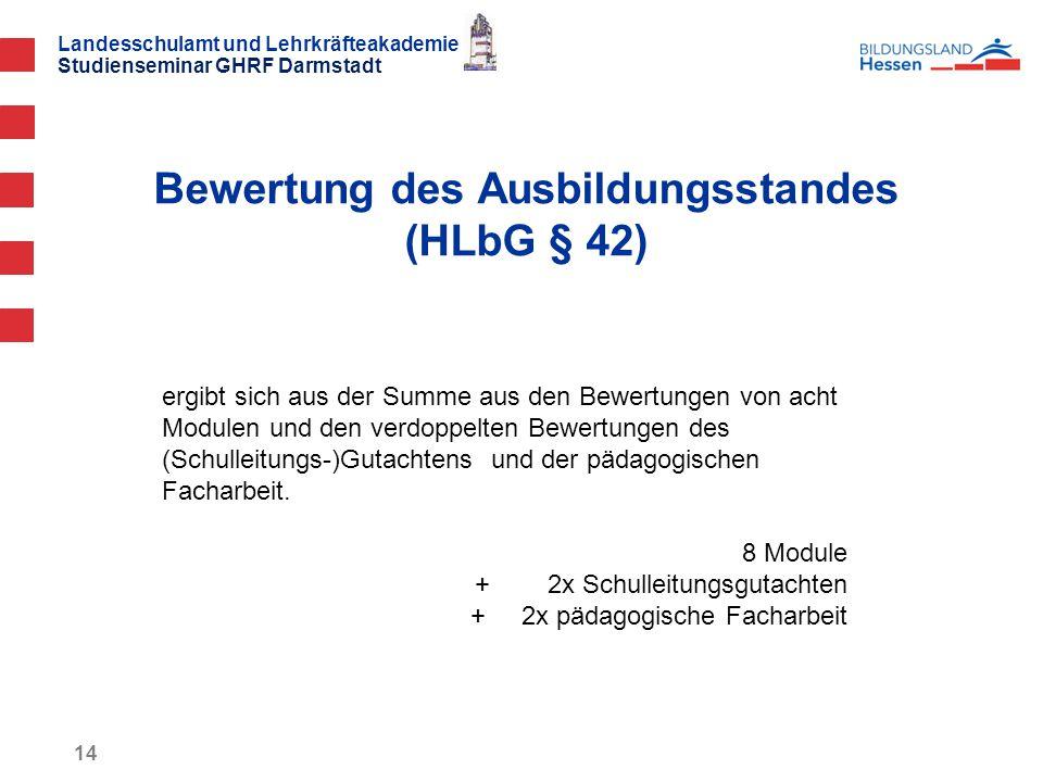 Landesschulamt und Lehrkräfteakademie Studienseminar GHRF Darmstadt Bewertung des Ausbildungsstandes (HLbG § 42) 14 ergibt sich aus der Summe aus den Bewertungen von acht Modulen und den verdoppelten Bewertungen des (Schulleitungs-)Gutachtens und der pädagogischen Facharbeit.