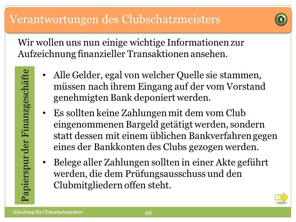 Verantwortungen des Clubschatzmeisters Papierspur der Finanzgeschäfte Wir wollen uns nun einige wichtige Informationen zur Aufzeichnung finanzieller Transaktionen ansehen.