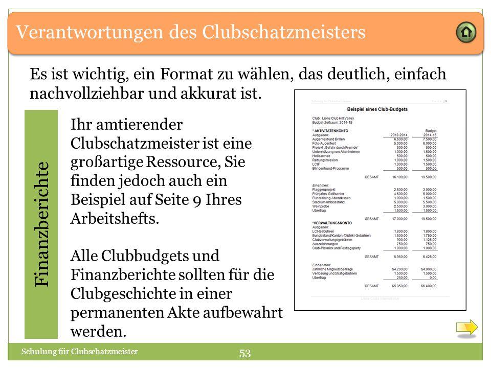 Verantwortungen des Clubschatzmeisters Finanzberichte Ihr amtierender Clubschatzmeister ist eine großartige Ressource, Sie finden jedoch auch ein Beispiel auf Seite 9 Ihres Arbeitshefts.
