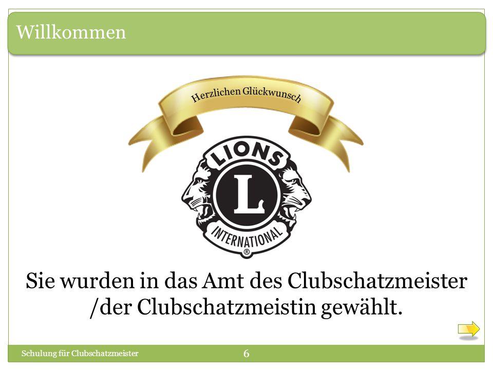 Willkommen Sie wurden in das Amt des Clubschatzmeister /der Clubschatzmeistin gewählt.