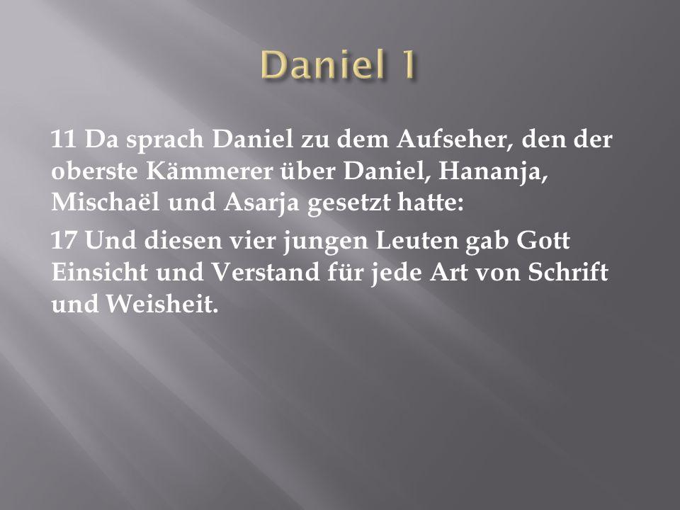 11 Da sprach Daniel zu dem Aufseher, den der oberste Kämmerer über Daniel, Hananja, Mischaël und Asarja gesetzt hatte: 17 Und diesen vier jungen Leute