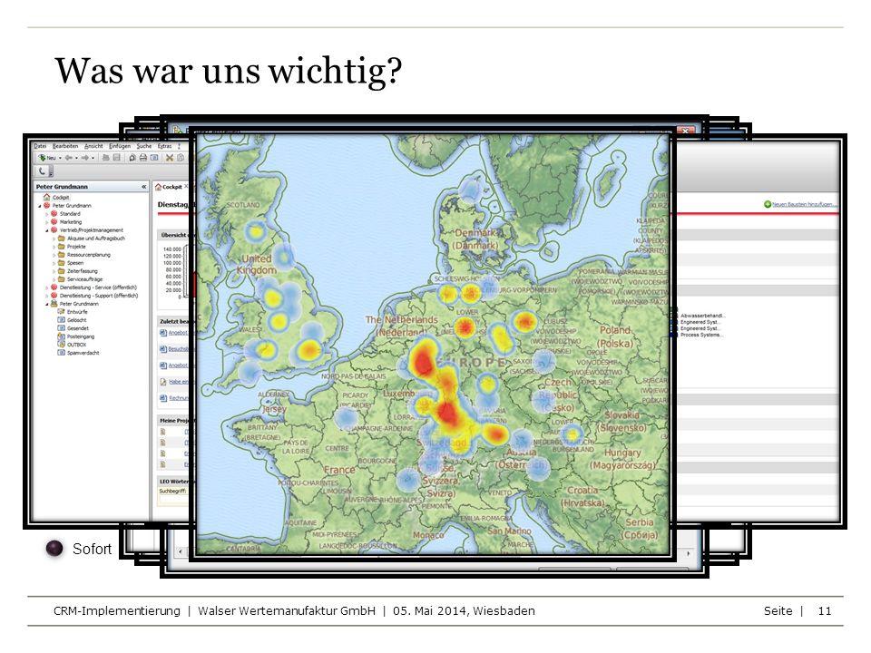 Seite | CRM-Implementierung | Walser Wertemanufaktur GmbH | 05. Mai 2014, Wiesbaden 11 Was war uns wichtig?