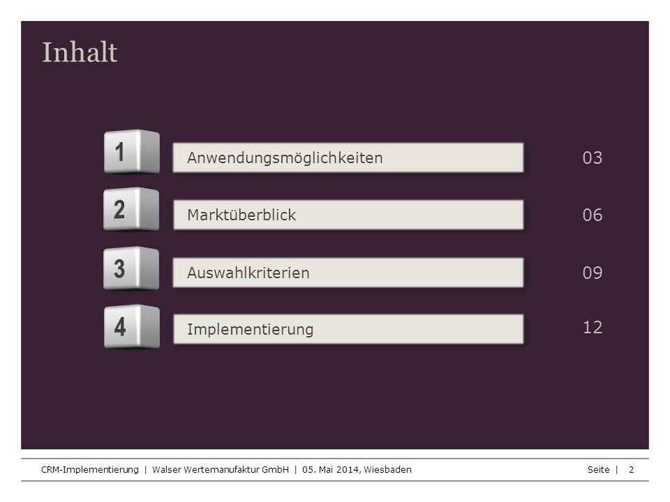 Inhalt Seite | CRM-Implementierung | Walser Wertemanufaktur GmbH | 05. Mai 2014, Wiesbaden 2 Anwendungsmöglichkeiten Marktüberblick Auswahlkriterien I