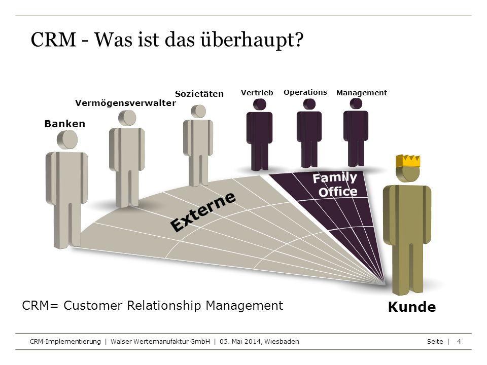 Seite | CRM-Implementierung | Walser Wertemanufaktur GmbH | 05. Mai 2014, Wiesbaden CRM - Was ist das überhaupt? 4 CRM= Customer Relationship Manageme