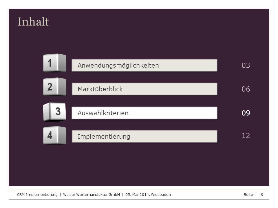 Inhalt Seite | CRM-Implementierung | Walser Wertemanufaktur GmbH | 05. Mai 2014, Wiesbaden 9 Anwendungsmöglichkeiten Marktüberblick Auswahlkriterien I