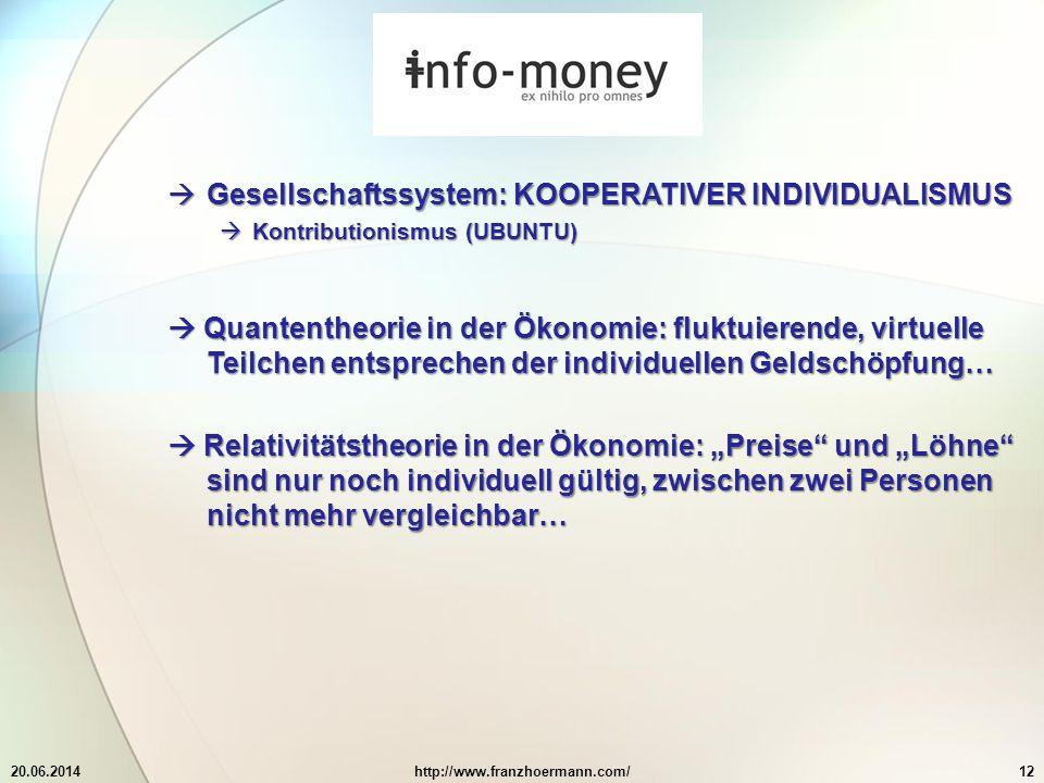 """20.06.2014http://www.franzhoermann.com/12  Gesellschaftssystem: KOOPERATIVER INDIVIDUALISMUS  Kontributionismus (UBUNTU)  Quantentheorie in der Ökonomie: fluktuierende, virtuelle Teilchen entsprechen der individuellen Geldschöpfung…  Relativitätstheorie in der Ökonomie: """"Preise und """"Löhne sind nur noch individuell gültig, zwischen zwei Personen nicht mehr vergleichbar…"""