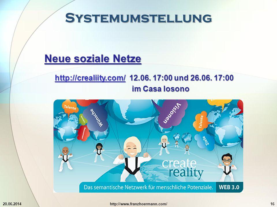 Systemumstellung 20.06.2014http://www.franzhoermann.com/16 Neue soziale Netze http://crealiity.com/http://crealiity.com/ 12.06.