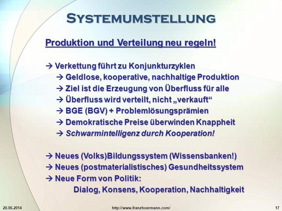 Systemumstellung 20.06.2014http://www.franzhoermann.com/17 Produktion und Verteilung neu regeln.