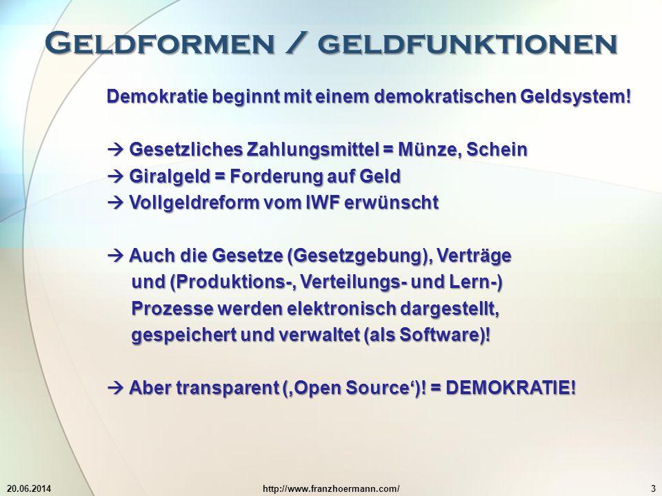 Geldformen / geldfunktionen 20.06.2014http://www.franzhoermann.com/3 Demokratie beginnt mit einem demokratischen Geldsystem.